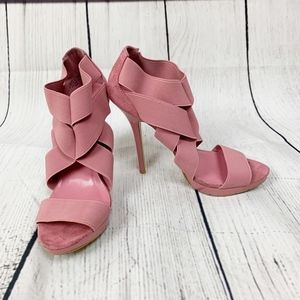 Bakers Pink Heels Weave Straps Amanda I 7
